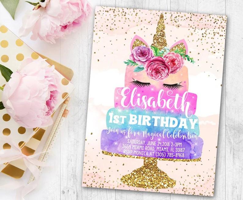 Free Thank You Cards Invitation Unicorn Birthday Invitation Etsy
