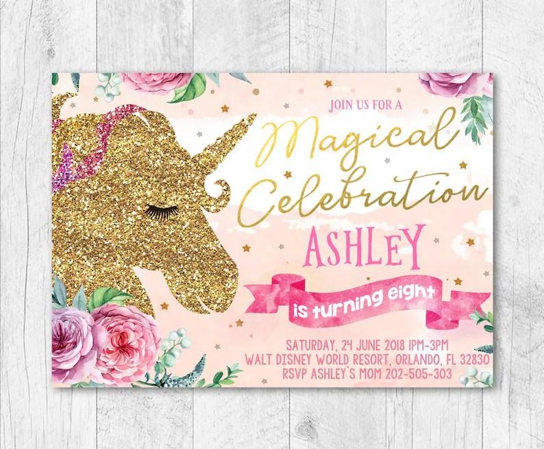 Free Thank You Cards Birthday Invitation Unicorn Birthday Etsy
