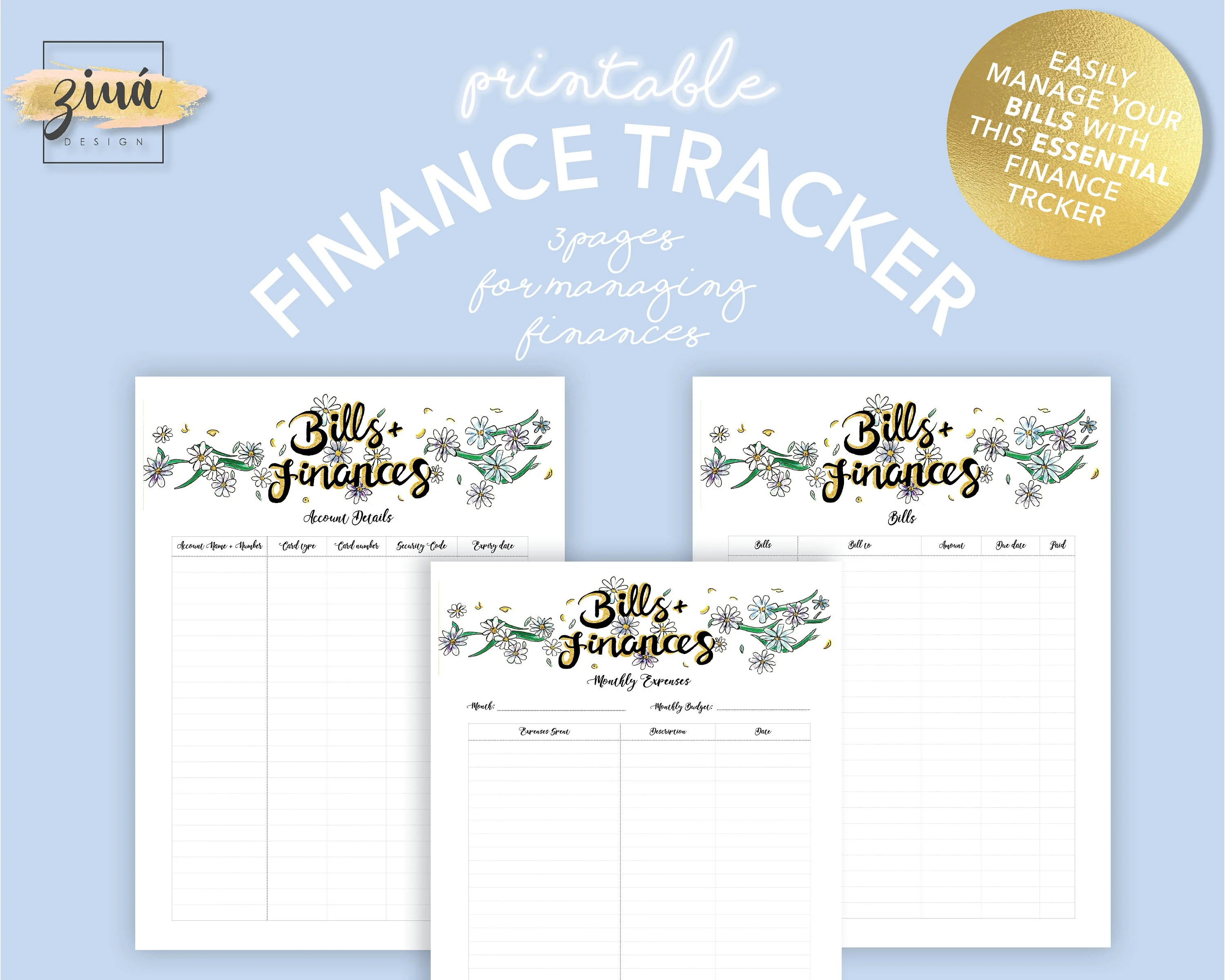 Bills Tracker Finance Tracker Money Tracker Expense Etsy