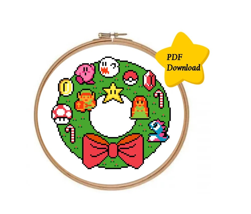 Arte Queer Pdf Nintendo Christmas Wreath Cross Stitch Instant Pdf Download Cross Stitch Template Pdf Only Zelda Mario Christmas Geeky 8 Bit