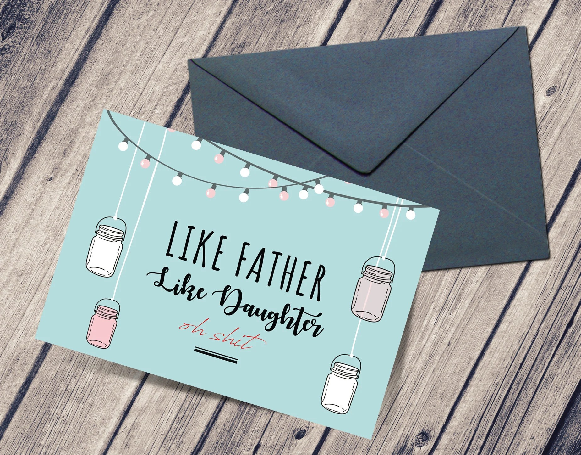 Funny Father\u0027s Day Card - From Daughter - Like Father Like Daughter Card -  Printable - Card For Dad - Swear - Cute Dad Gift Download PDF