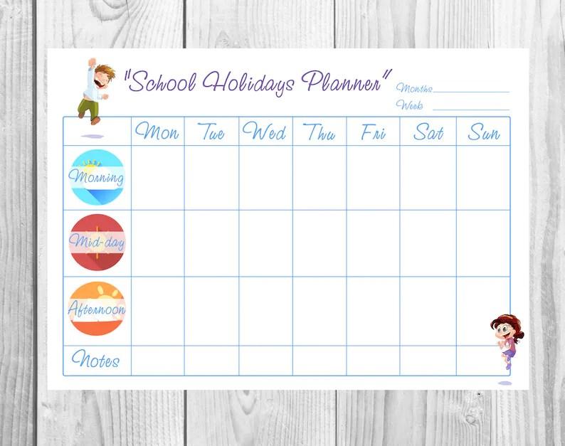 Kids Week Blank Planner Children Schedule Kids Chore Chart Etsy