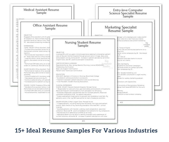 Professional Resume Template MSWord Pages Resume Templates Etsy