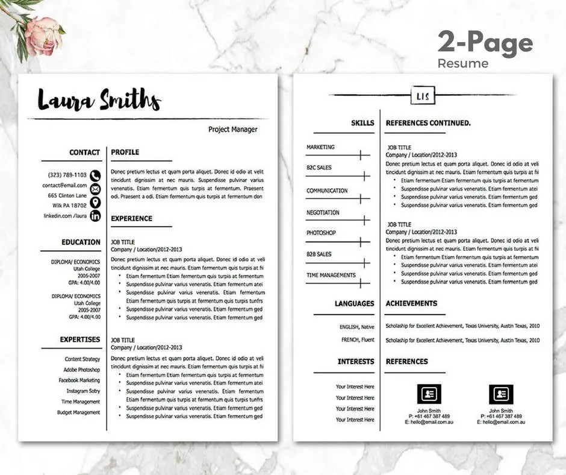 Professional Resume Template Mac PC Resume Template CV sjabloon Etsy