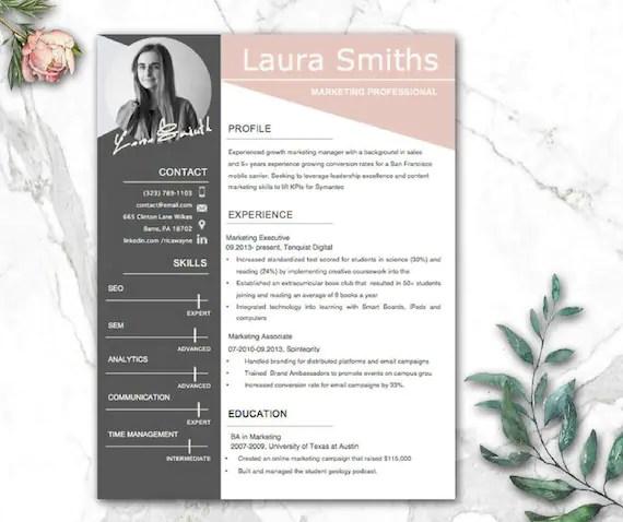 Modern Resume Template CV Templates CV-malli Professional Etsy