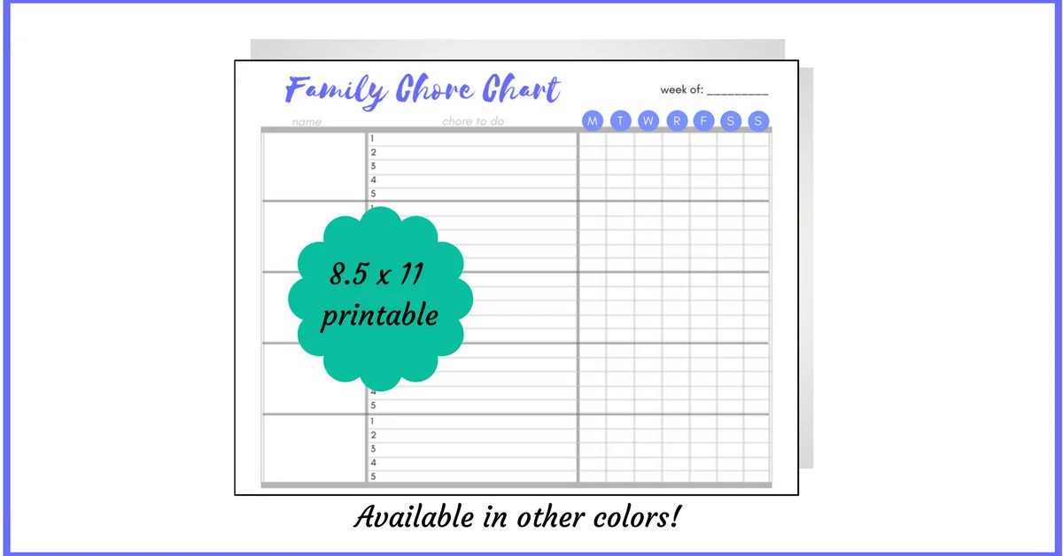 Blue family chore chart printable chores by name housework Etsy