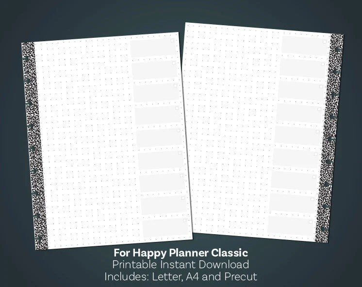 Dot Grid Paper Printable Checklist Template Happy Planner Etsy