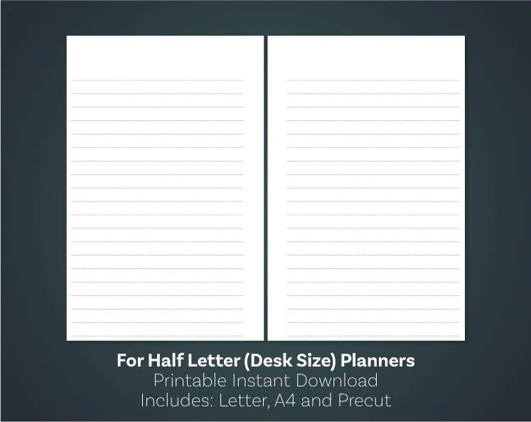 Lined Paper PDF Printable Notes Page Half Size Inserts Half Etsy