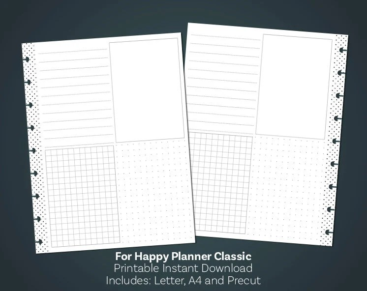 Printable Notes Page Lined Paper PDF Grid Paper Printable Etsy