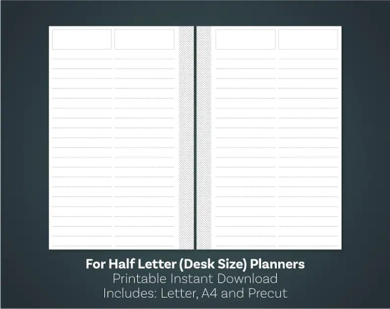 List Template Lined Paper Digital Download Printable Notes Etsy