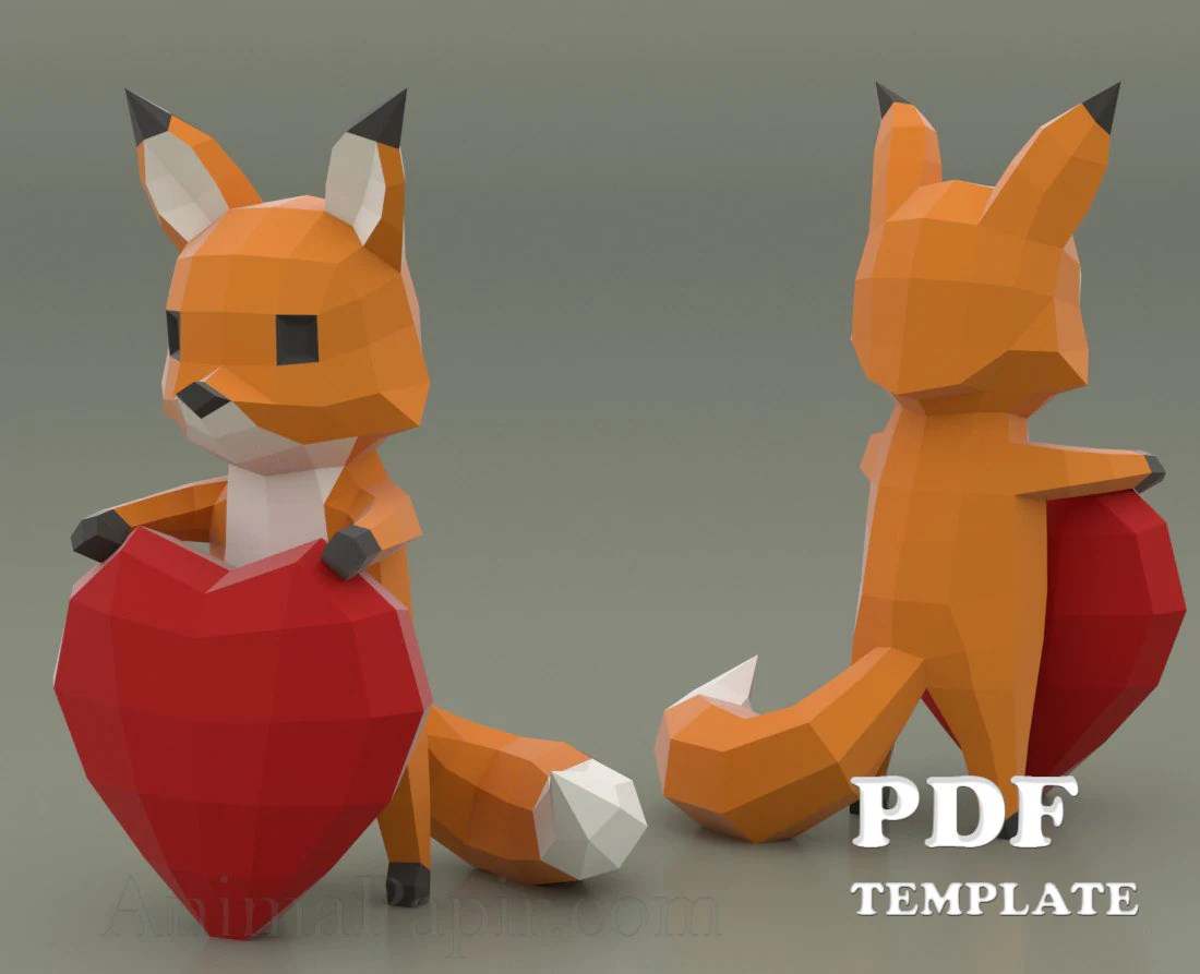 Fox Meubles Algerie Fox With Heart Papercraft Cartoon Fox Papercraft Low Poly Fox Diy Fox Papercraft Animal Paper Fox Heart Papercraft