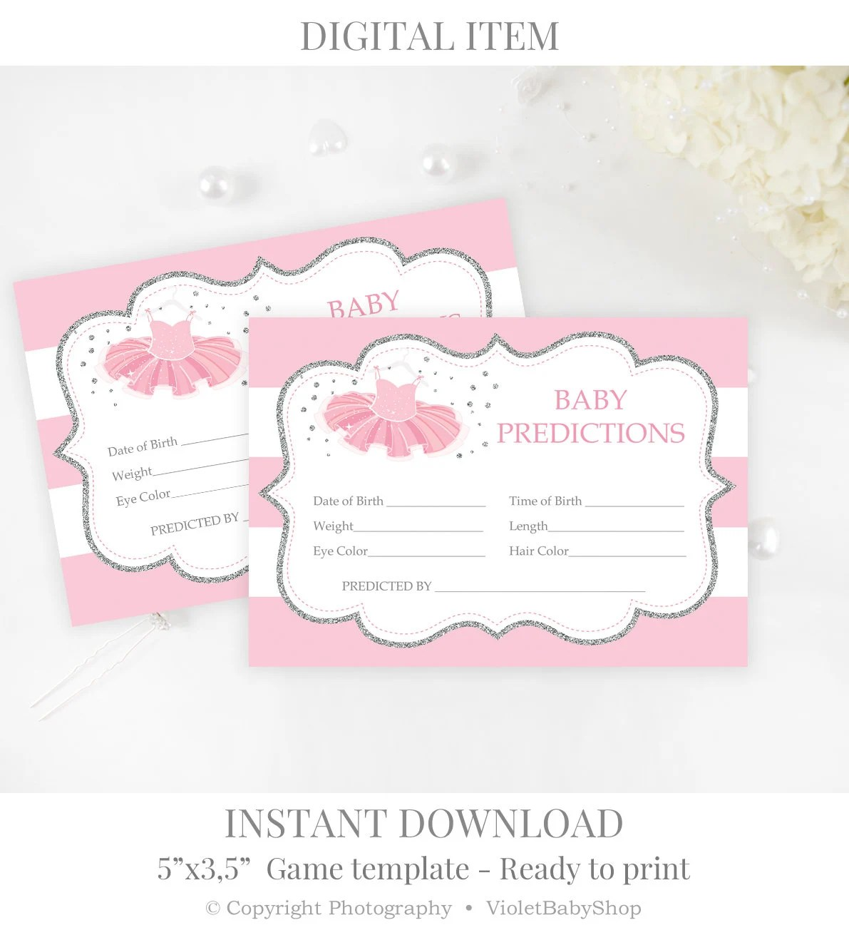 Baby Prediction Game Template Printable Silver and Pink Baby Etsy