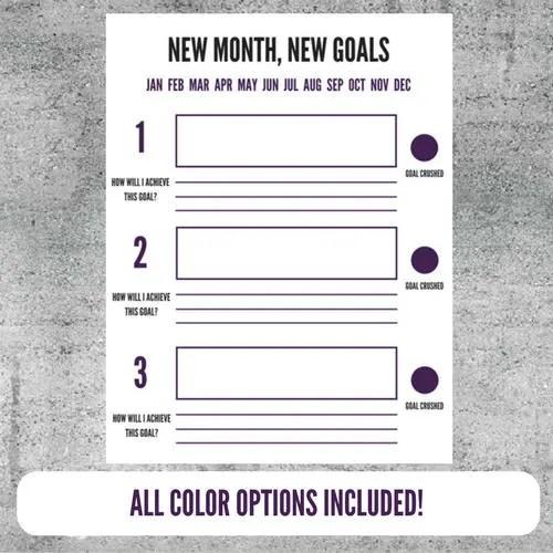 Printable Goal Setting Worksheet Goals Goal Tracker Plan Etsy