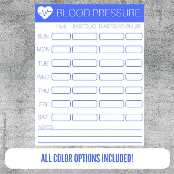 Printable Blood Pressure Tracker Blood Pressure Monitoring Etsy
