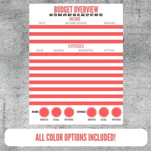 Printable Budget Overview Budget Worksheet Income and Etsy