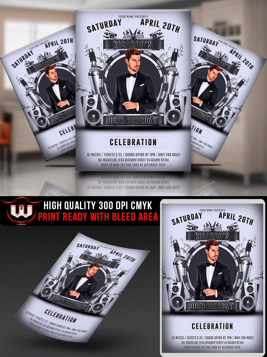 Black and White Party flyer Template Black White Club Etsy