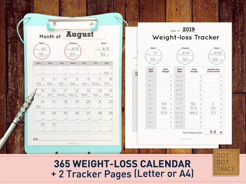Printable 365 Weight loss calendar 365 weight-loss calendar Etsy