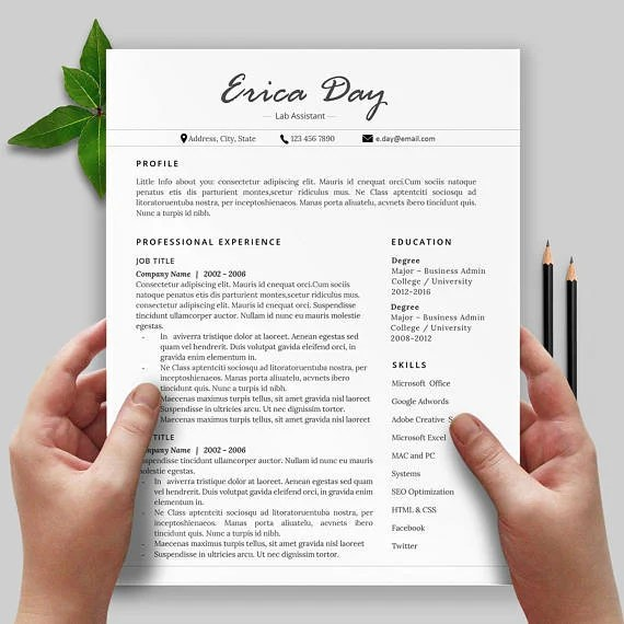 Resume Writing Resume Template Creative  Professional Etsy