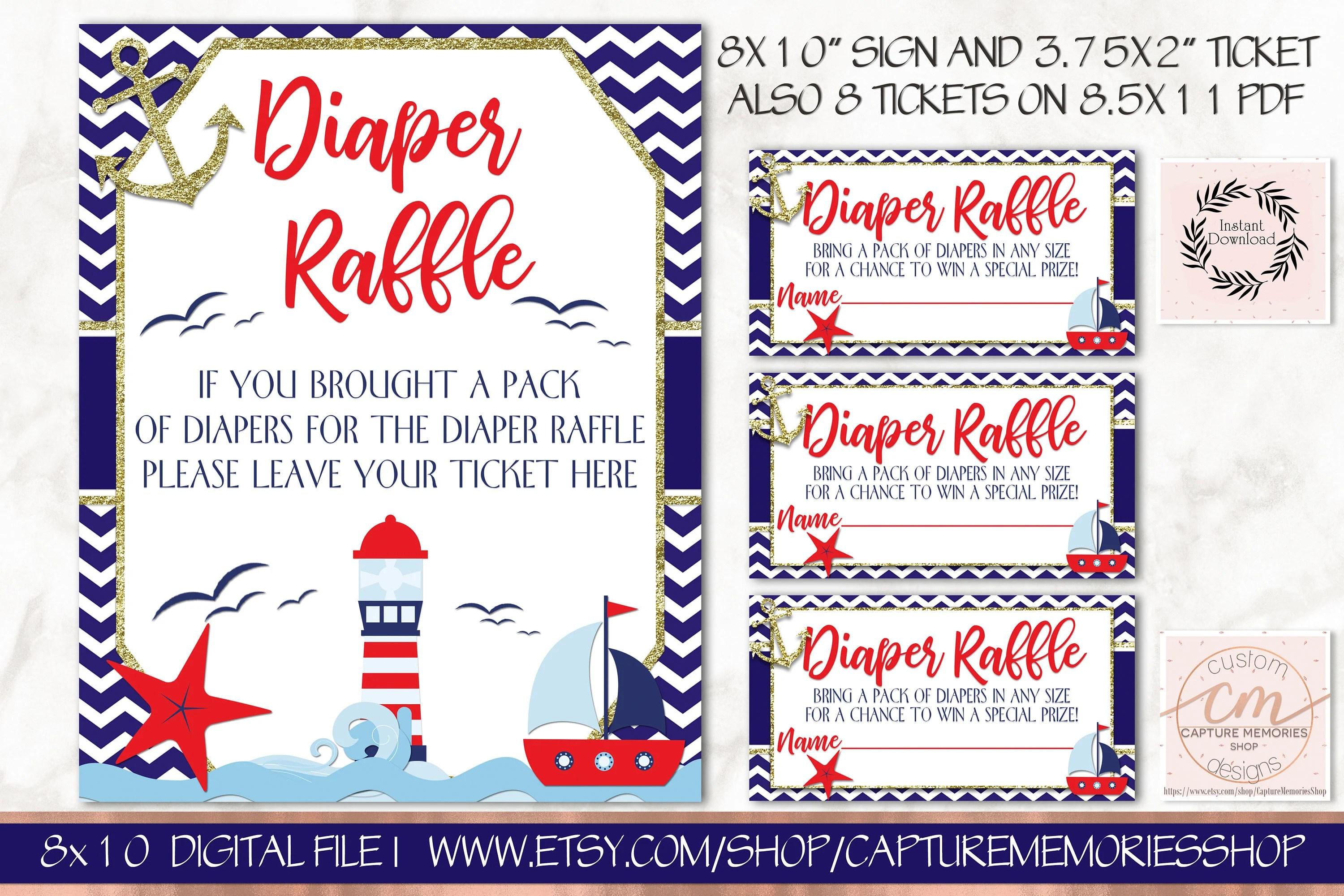 Nautical Baby Shower Diaper Raffle Ticket And Sign, Printable