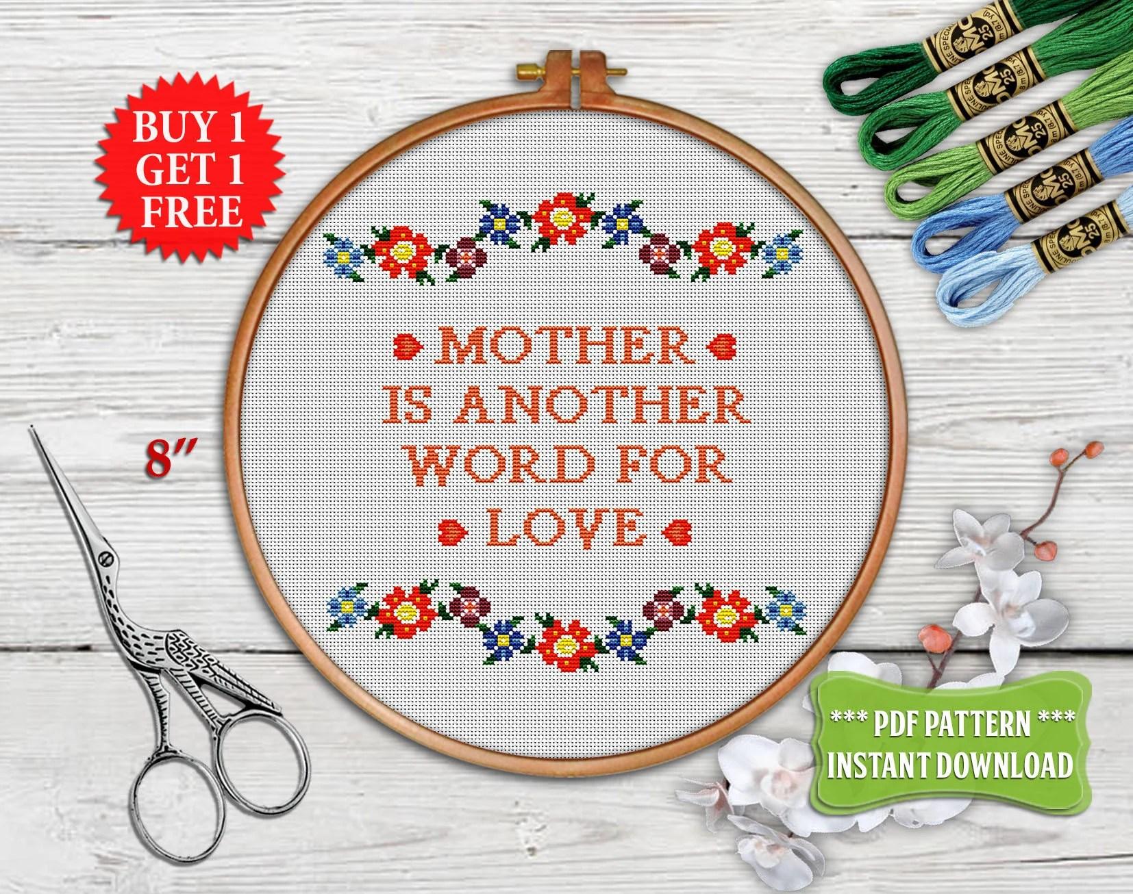 Mother Cross stitch pattern Modern cross stitch Flower Etsy
