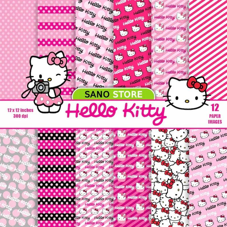 Hello kitty scrapbook digital paper pack Printable cartoon Etsy