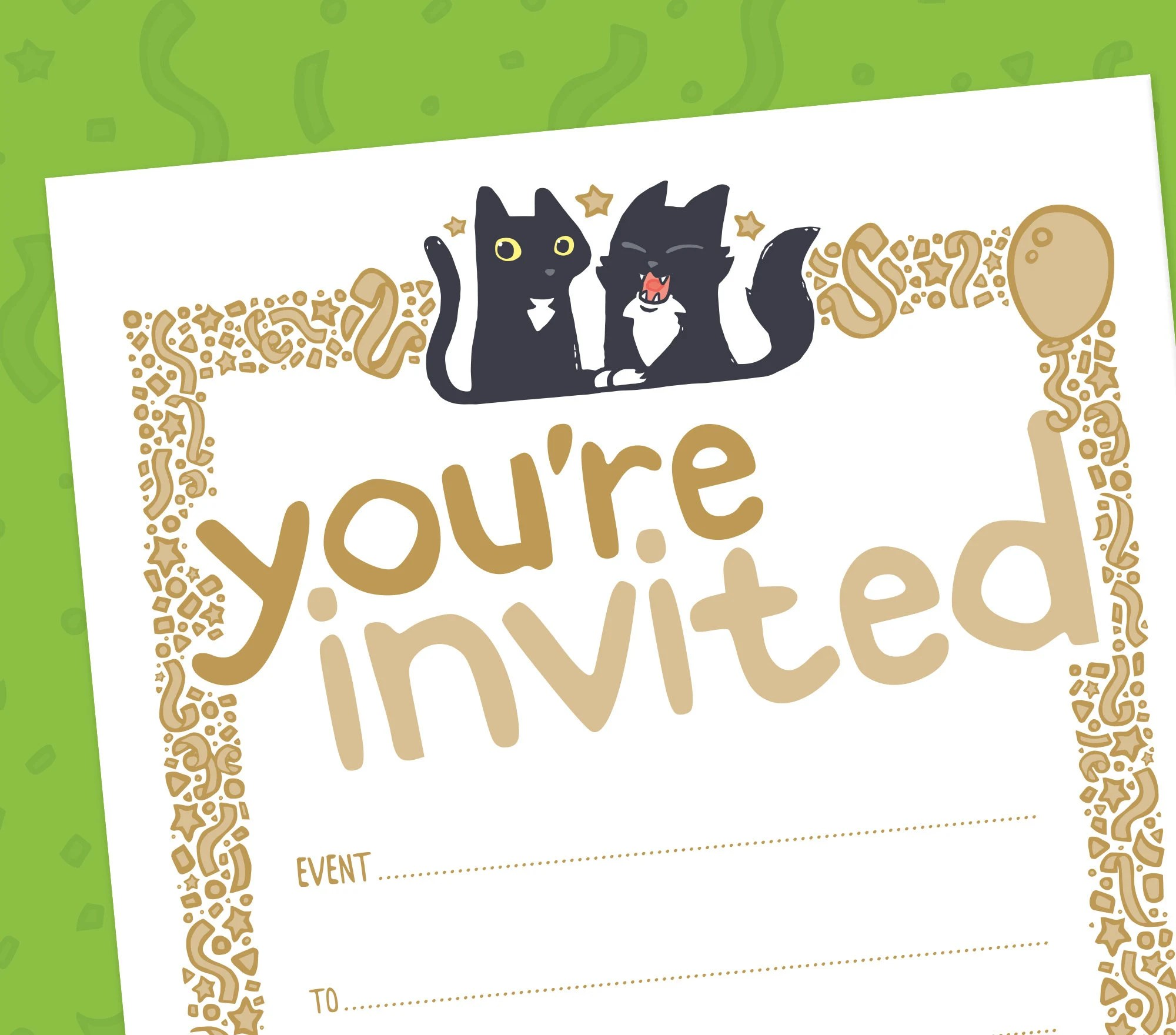 10 Blank Party Invitations pack of 10 blank cat invites Etsy