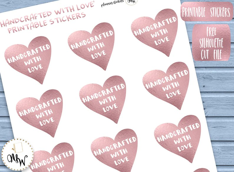 Handcrafted Product Labels Handcrafted With Love Stickers Etsy