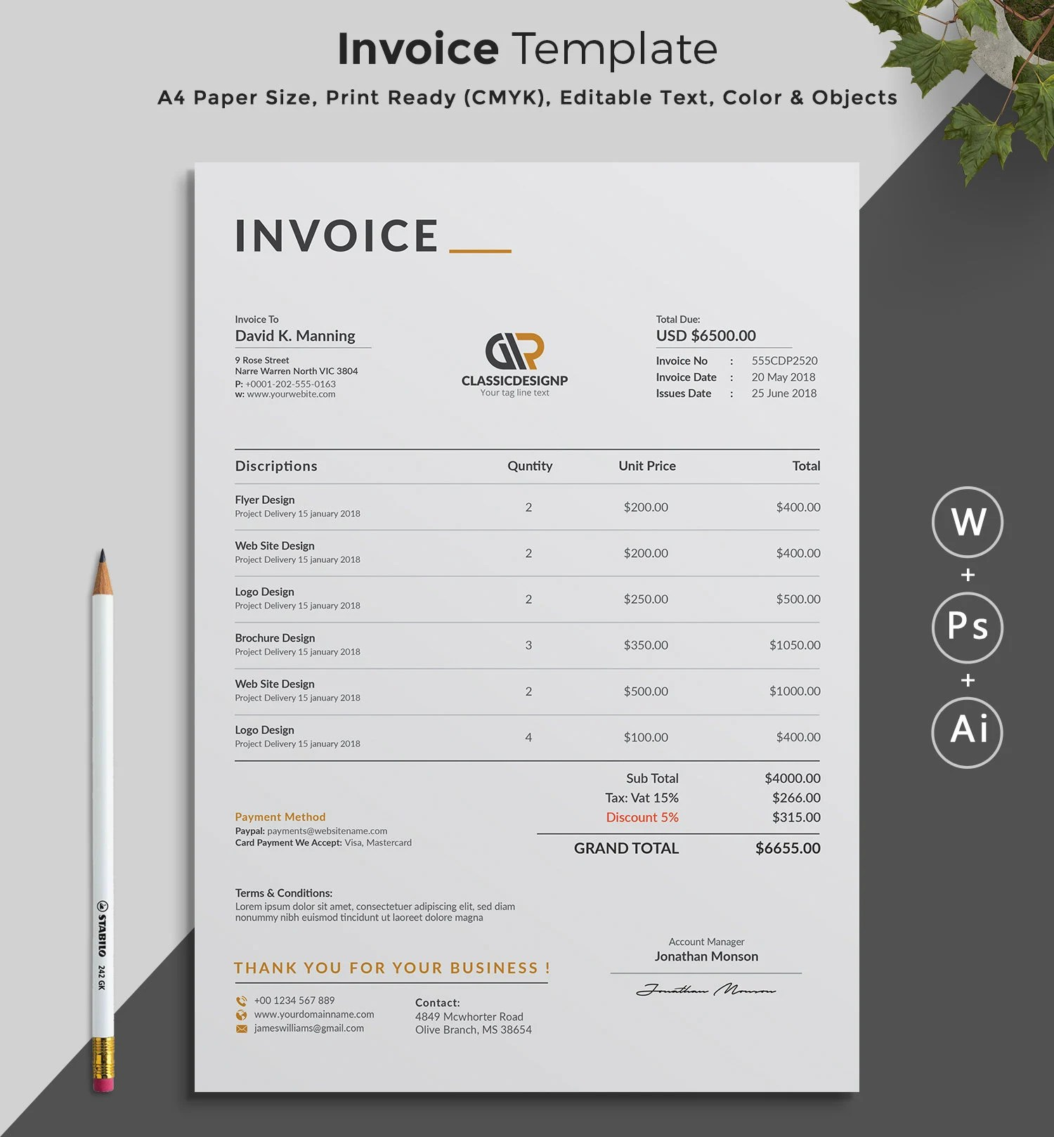 Printable Invoice Estimate template Editable Template Etsy