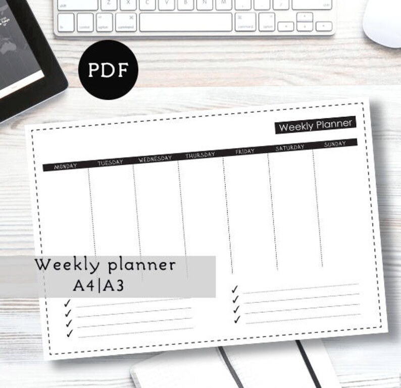 Weekly Minimalist Planner Work planner A4 A3 Project planner Etsy