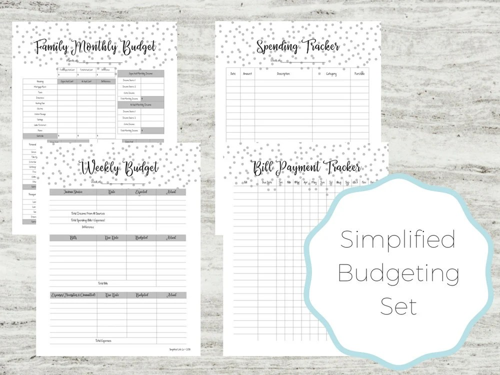 Budgeting Set Budget Printables Easy Budgeting Family Etsy