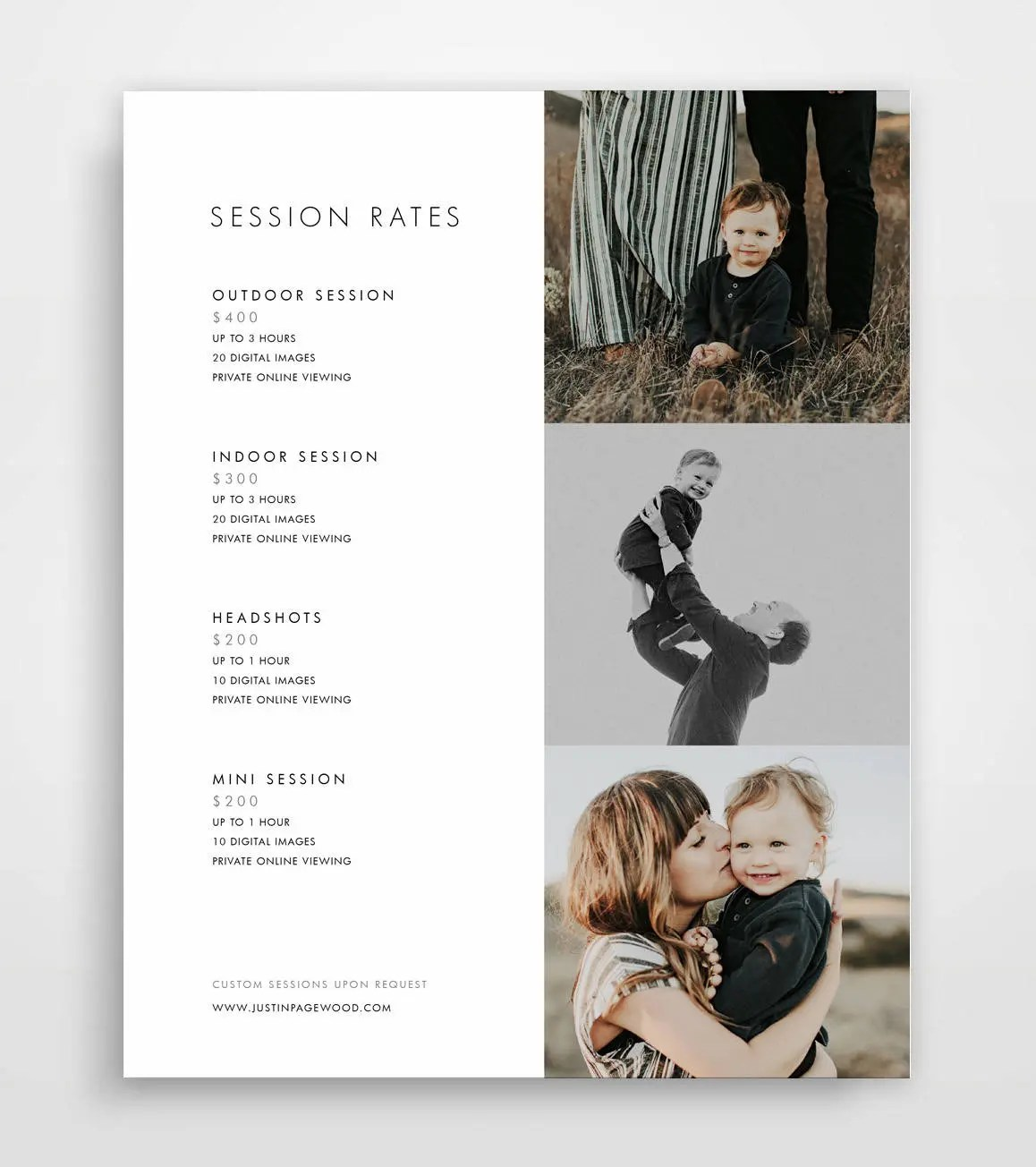 Photography Pricing Template Photography Price List Etsy