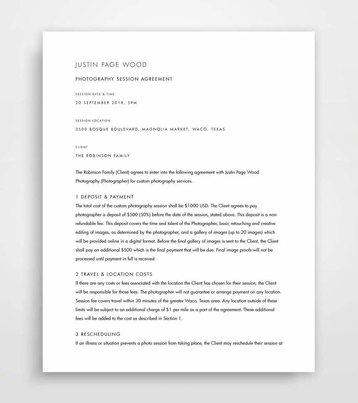 Photography Contract Contract Template Photographer Etsy