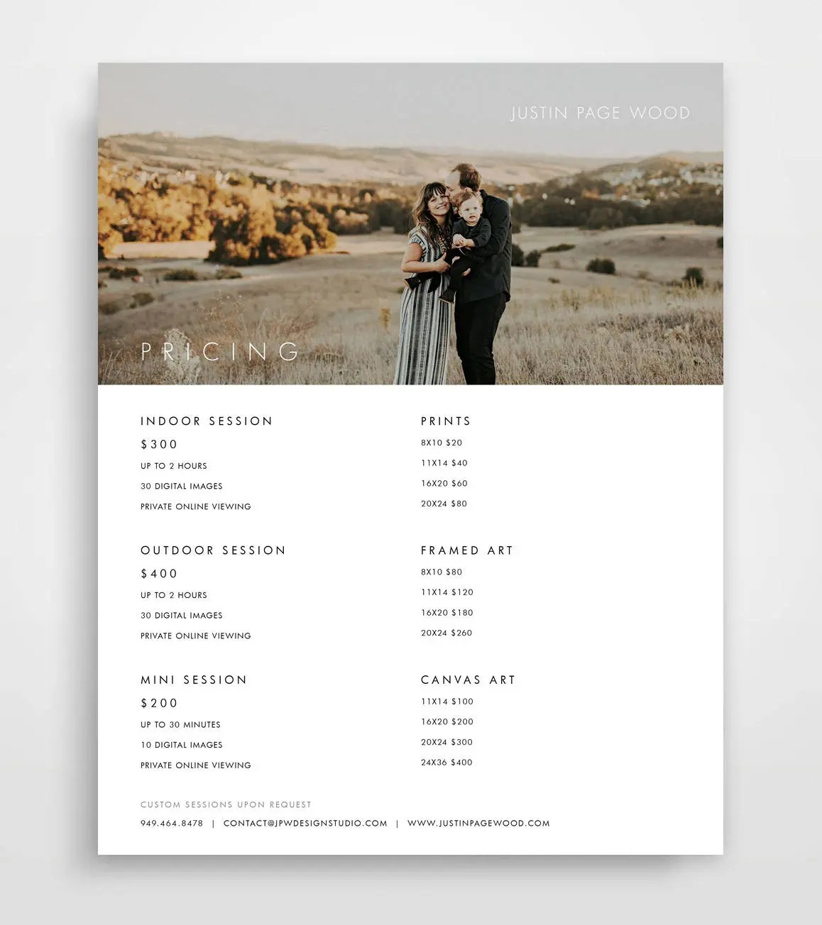Photography Pricing List Pricing Guide Pricing List Etsy