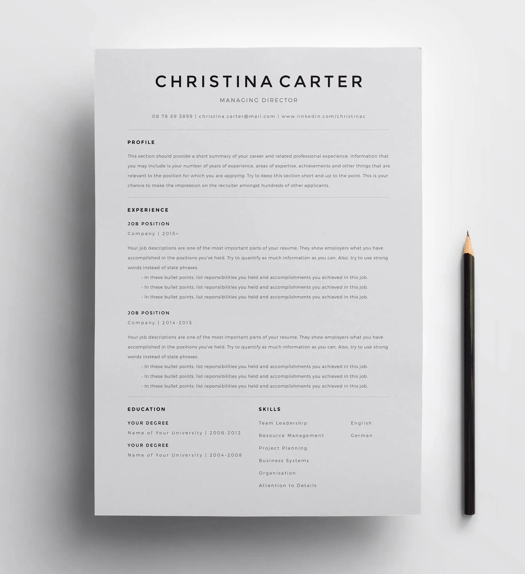 Creative Resume Template Minimalist Resume Resume Modern Etsy