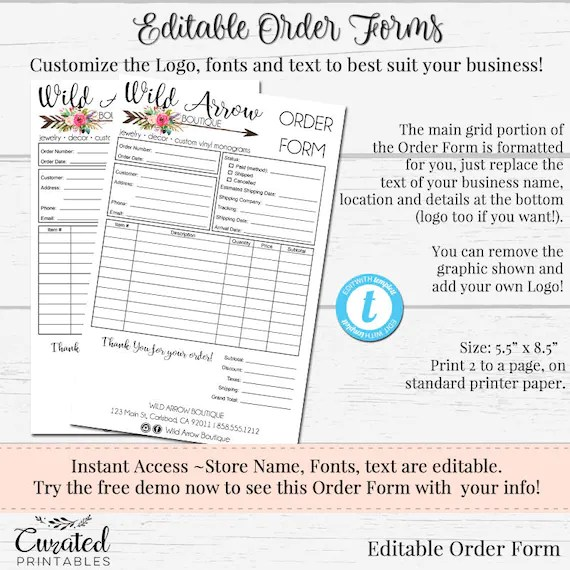 Order Form Customizable Order Form Editable Order Form Etsy