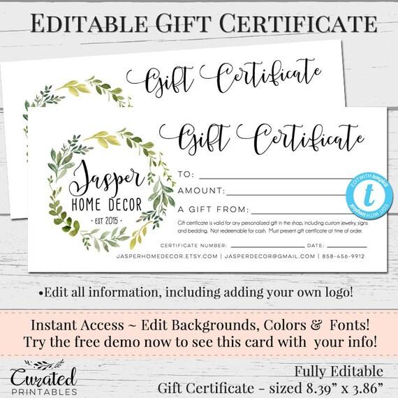 Editable Gift Certificate Voucher Printable Gift Cert DIY Etsy