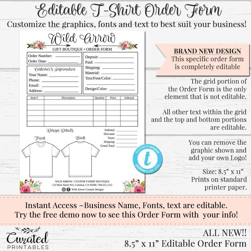 T-Shirt Order Form Customizable Order Form Editable Order Etsy