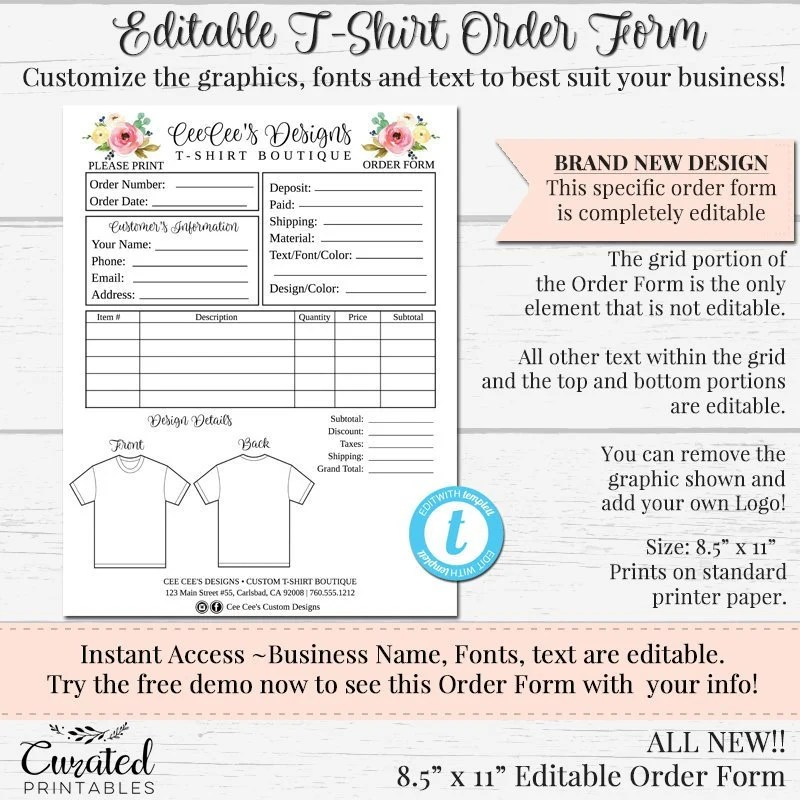 NEW T-Shirt Order Form Customizable Order Form Editable Etsy