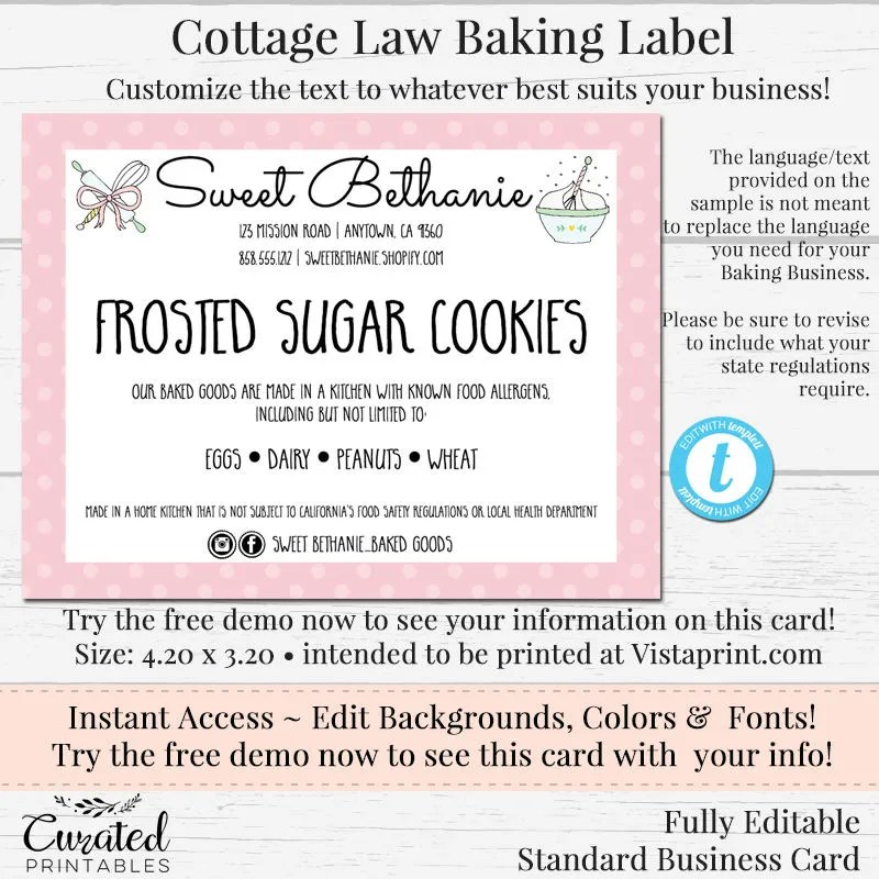 Cottage Law Label Bakers Label Cookie Product Label DIY Etsy