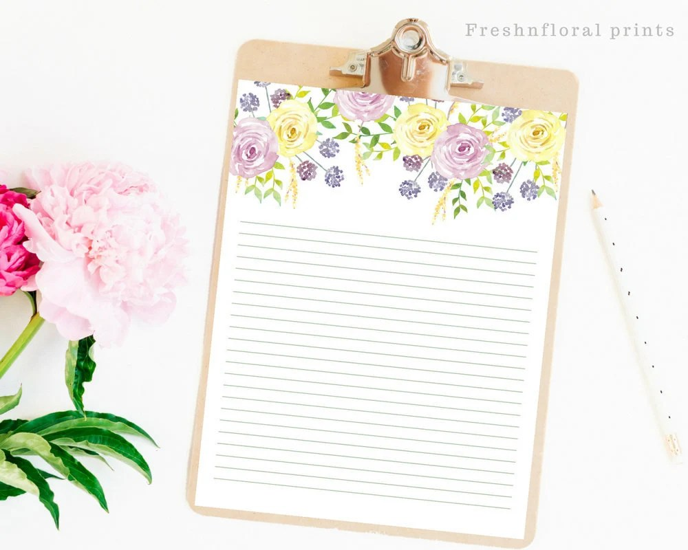Floral Writing Paper Printables Letter paper Floral Card Etsy