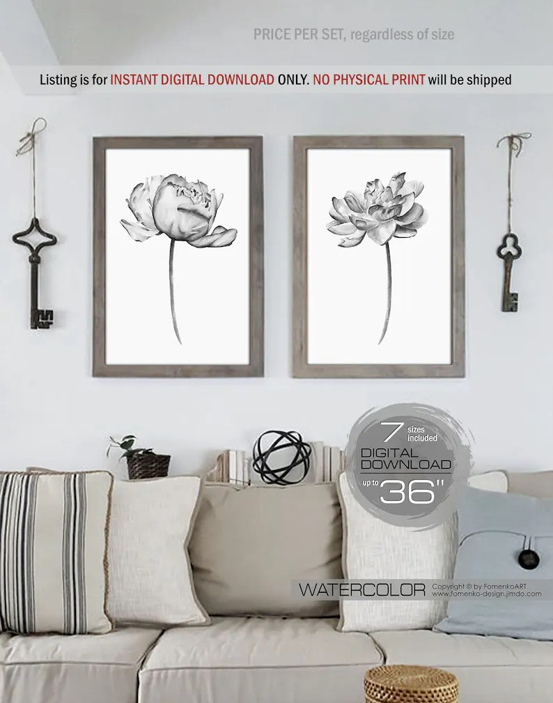Black And White Artwork For Bedroom Printable Wall Art Farmhouse Decor 2 Black And White Photography Prints Wall Art Flower Painting Flower Art Bedroom Wall Decor Peony Print