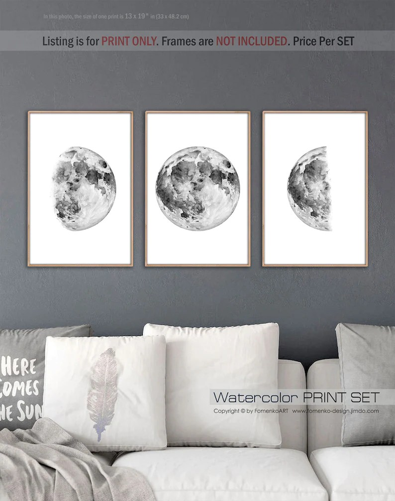 Black And White Artwork For Bedroom Black And White Prints Wall Art Moon Decor Crescent Moon Wall Decor Bedroom Space Decor Moon Phase Art Moon Print 3 Piece Wall Art
