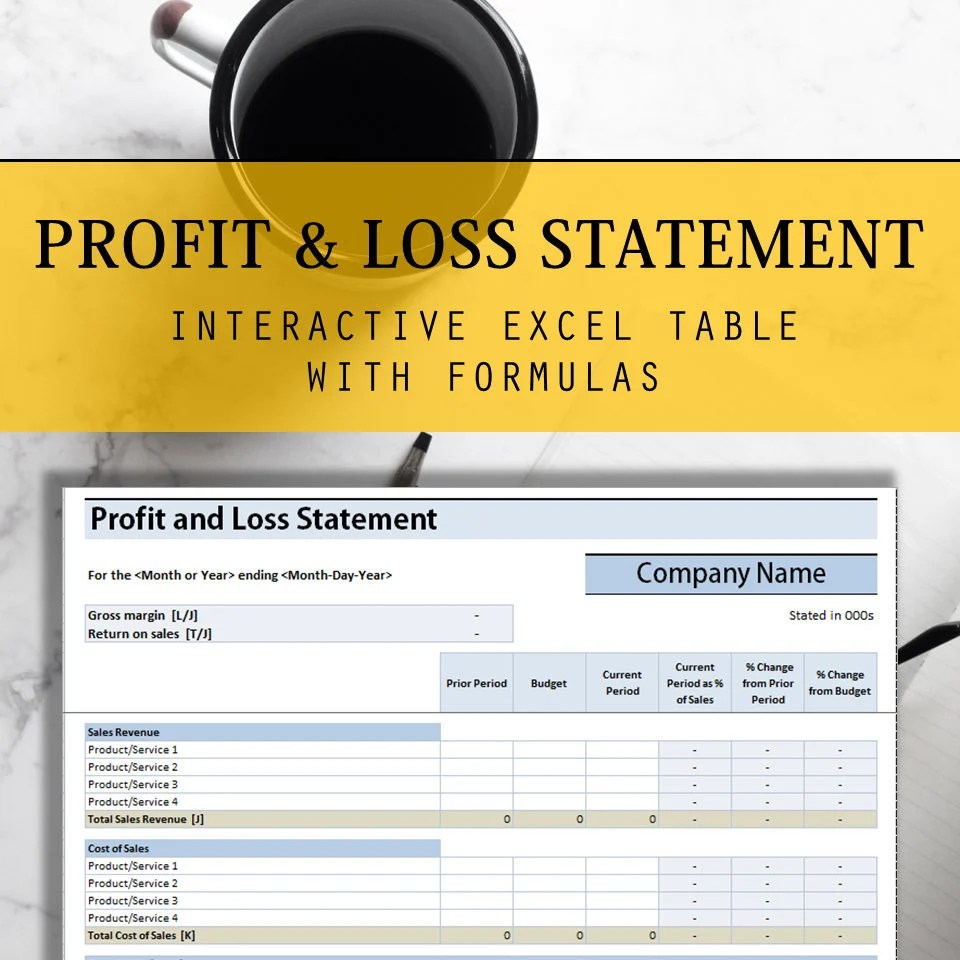 Profit and Loss Statement Excel Table with Interactive Etsy