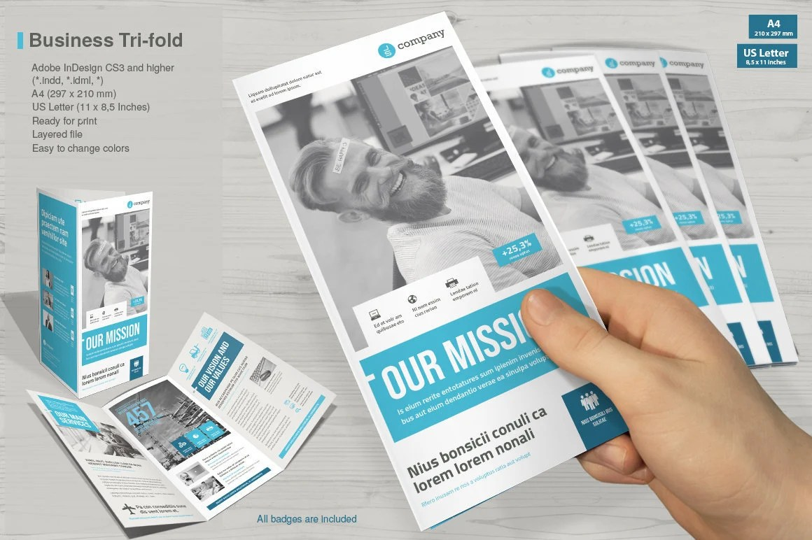 Tri-fold Brochure Print Template InDesign Template Etsy