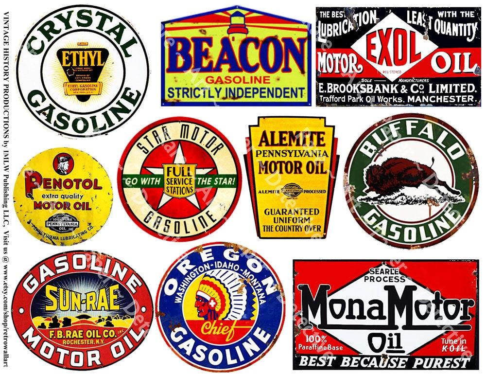 Oil Can Labels 10 Gasoline Signs on 1 Digital Download Etsy