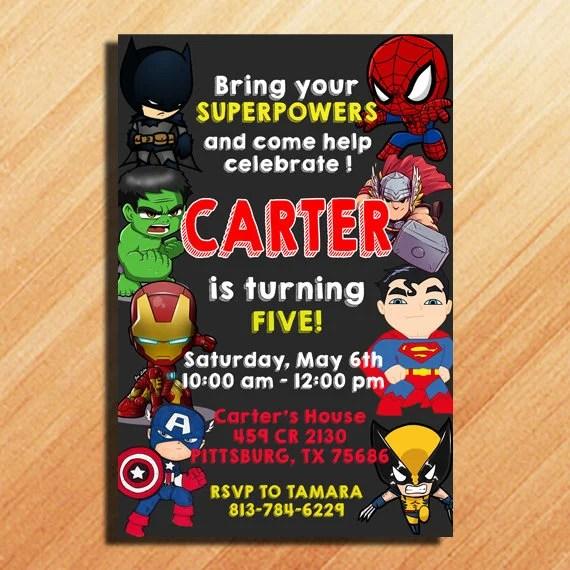 Holidayinnknoxwest Superhero Birthday Invitation Party Etsy