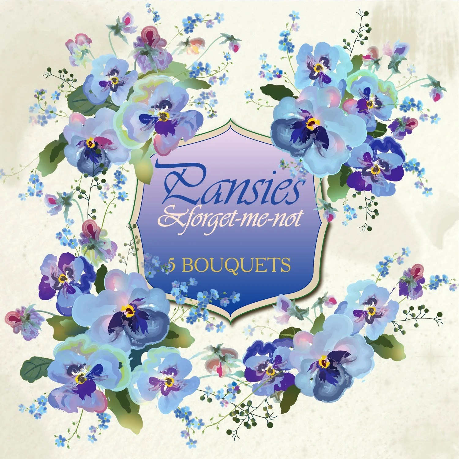 Blue PNG Pansies Bouquets Clipart Watercolor Posies Etsy