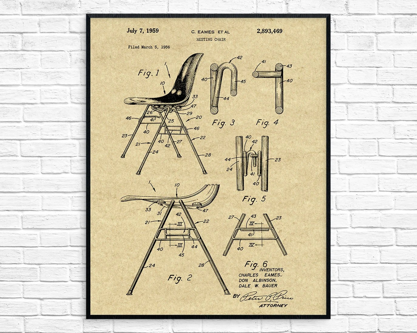 Eames Chair Patent Eames Chair Patent Printable Modern Art Retro Furniture Eames Chair Design Blueprint Living Room Wall Art Vintage Chair Art Office Decor