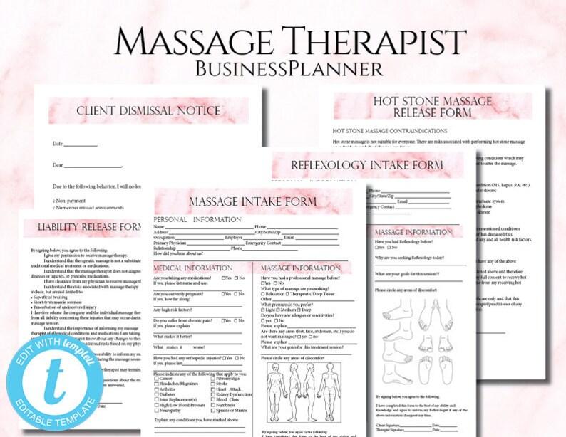 Massage Therapist Business Planner Massage Business Massage Etsy