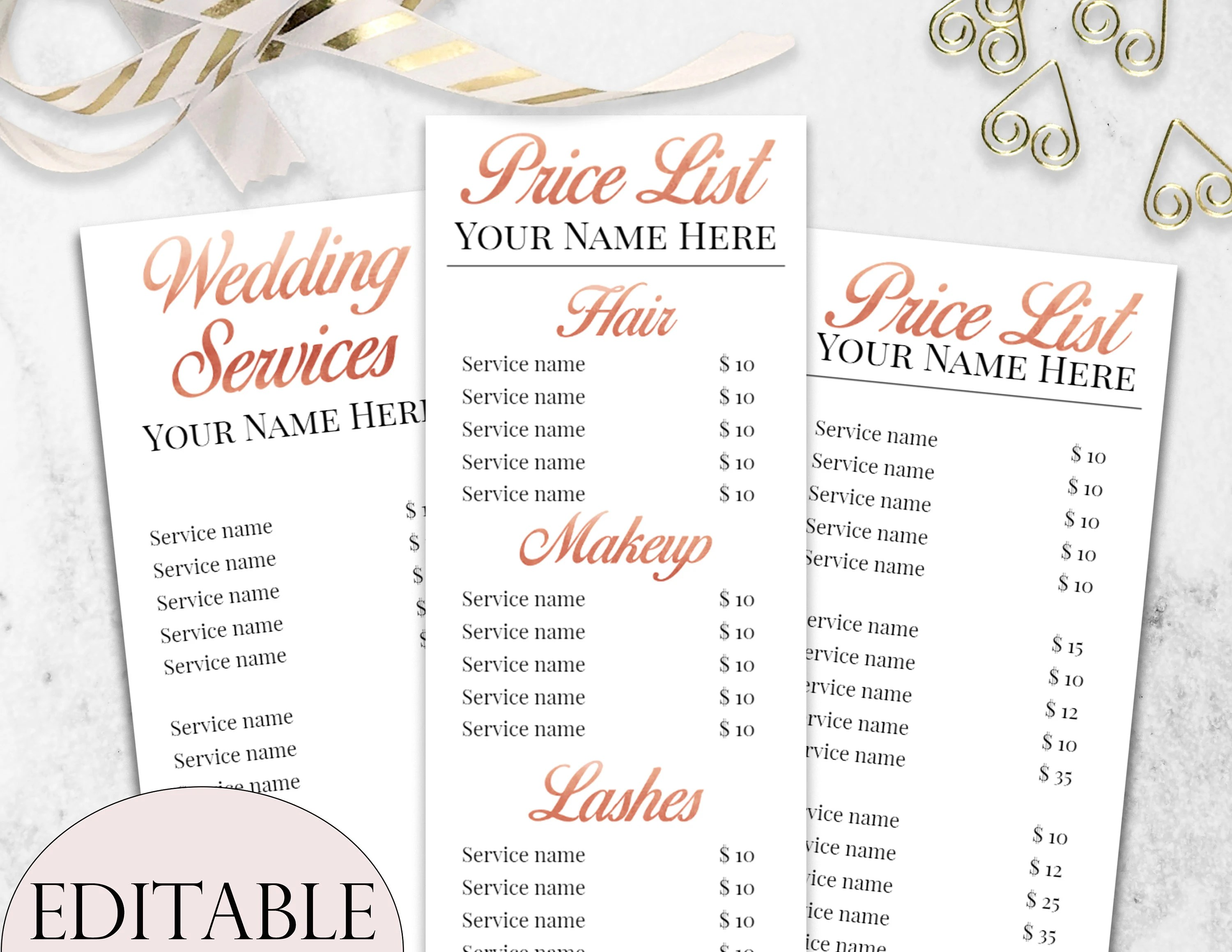 Beauty Salon Prices Beauty Salon Price List Template Bundle Editable Price List Rose Gold Price List Wedding Hair And Makeup Price List Cosmetologist